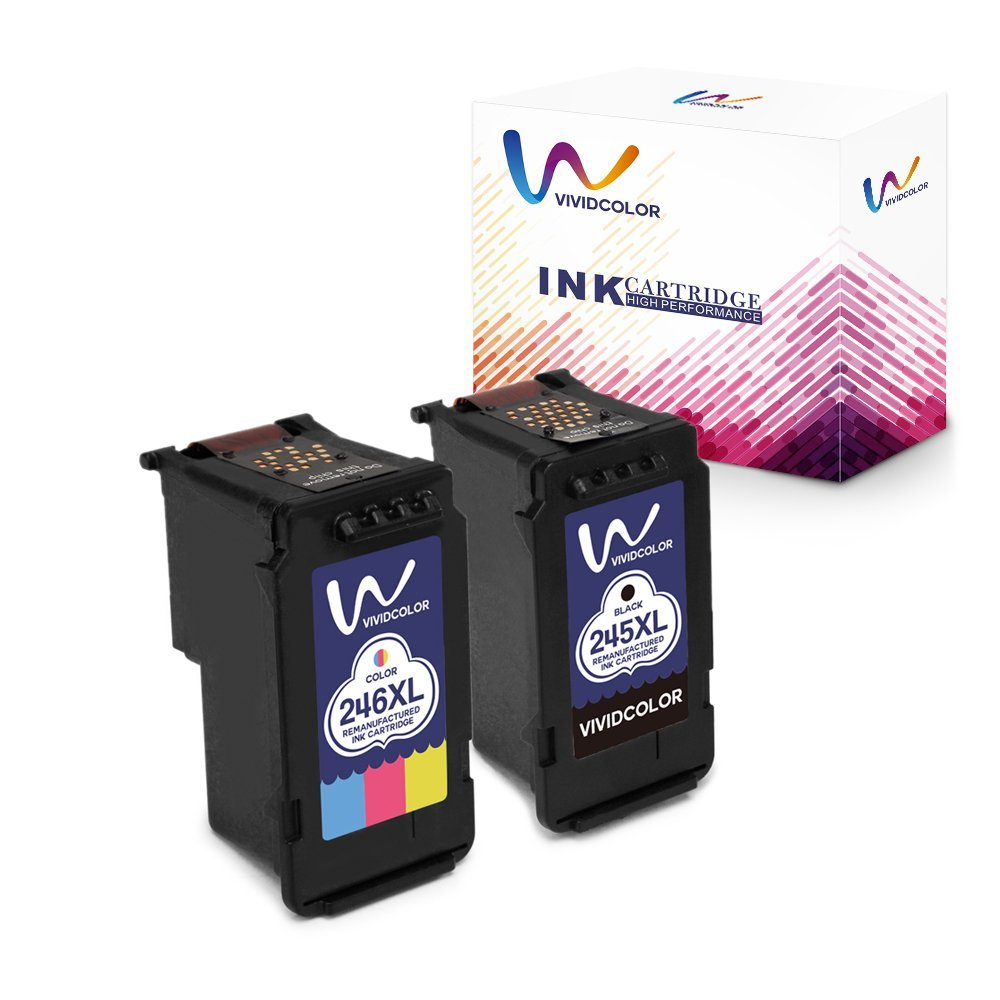 Vividcolor 245xl 246xl Ink Cartridge Compatible with Canon PG-245 CL-246 High Yield, Work with Canon Pixma MG2920 MX492 MG2520 IP2820 MG2922 MG2924 MG2420 MG2522 MX490 TS3120 Printer (1 Color 1 Black)