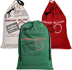 3 Pack Christmas Decorations Santa Sack Personalized for Kids Canvas Burlap Blank Christmas Gifts Bag Drawstring Special Delivery Extra Large Size Red Green White 27.5