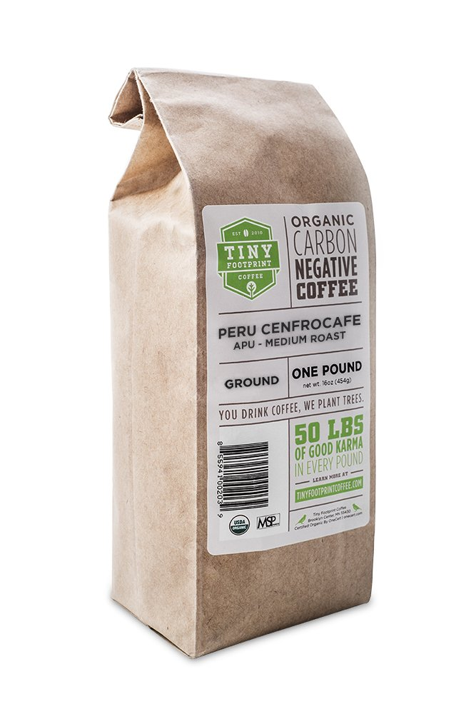 Tiny Footprint Coffee Organic Peru APU Medium Roast, Ground Coffee, 1 Pound