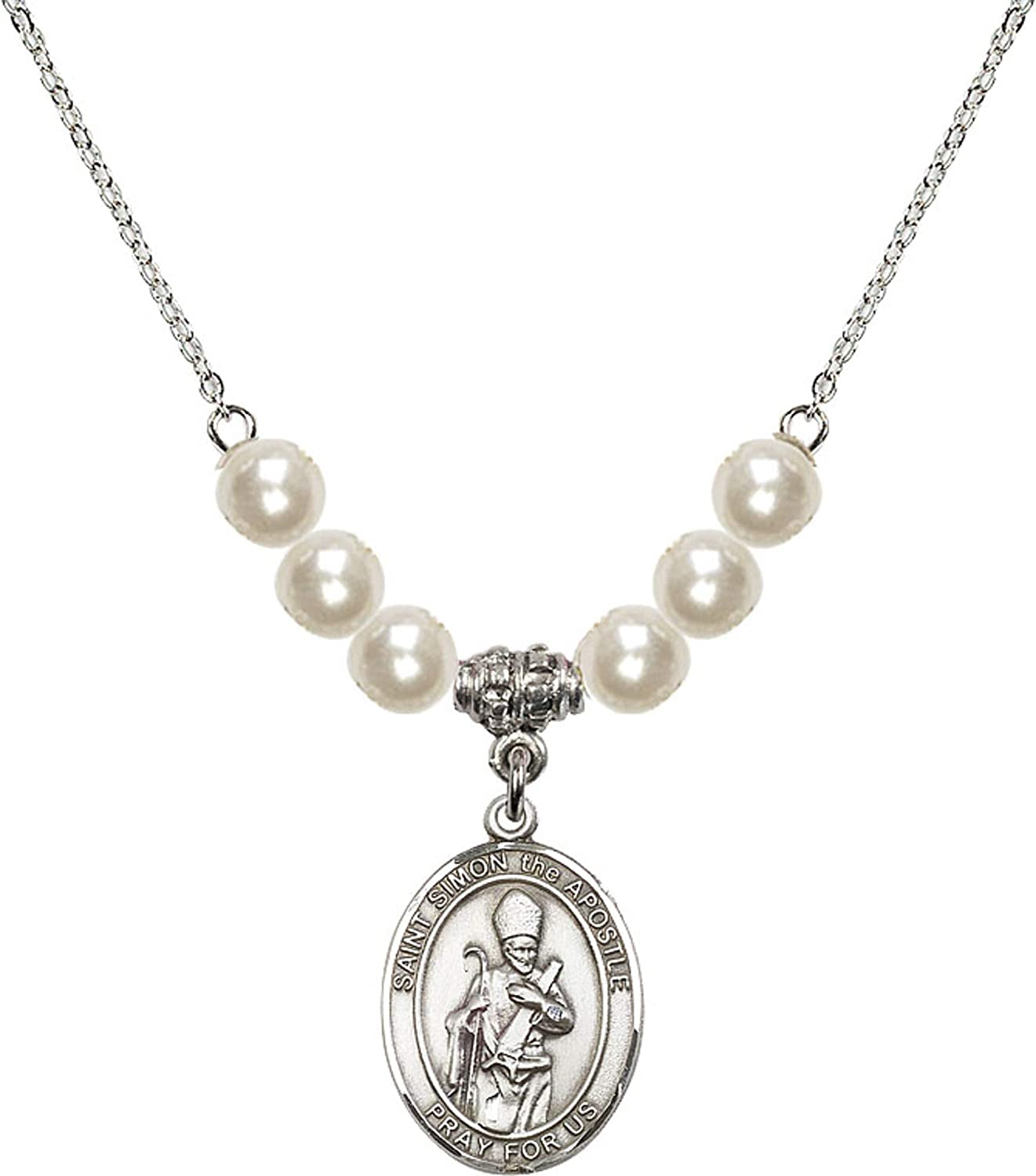 Bonyak Jewelry 18 Inch Rhodium Plated Necklace w// 6mm Faux-Pearl Beads and Saint Simon The Apostle Charm