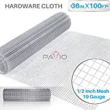 Patio Paradise 1/2 36-Inch x 100-Feet 19 Gauge Wire Mesh Galvanized Hardware Cloth for Garden Plant Rabbit Chicken Run Chain Link Fencing Guard Cage