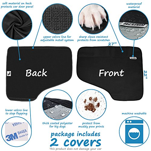 Pet Car Door Protector for Dogs | Interior Cover Guard Vehicle Back Door Protection from Pets Scratch Drooling Nails Large Safe No Slip Velcro Stick for Side Doors PetEvo by PetEvo (Image #3)