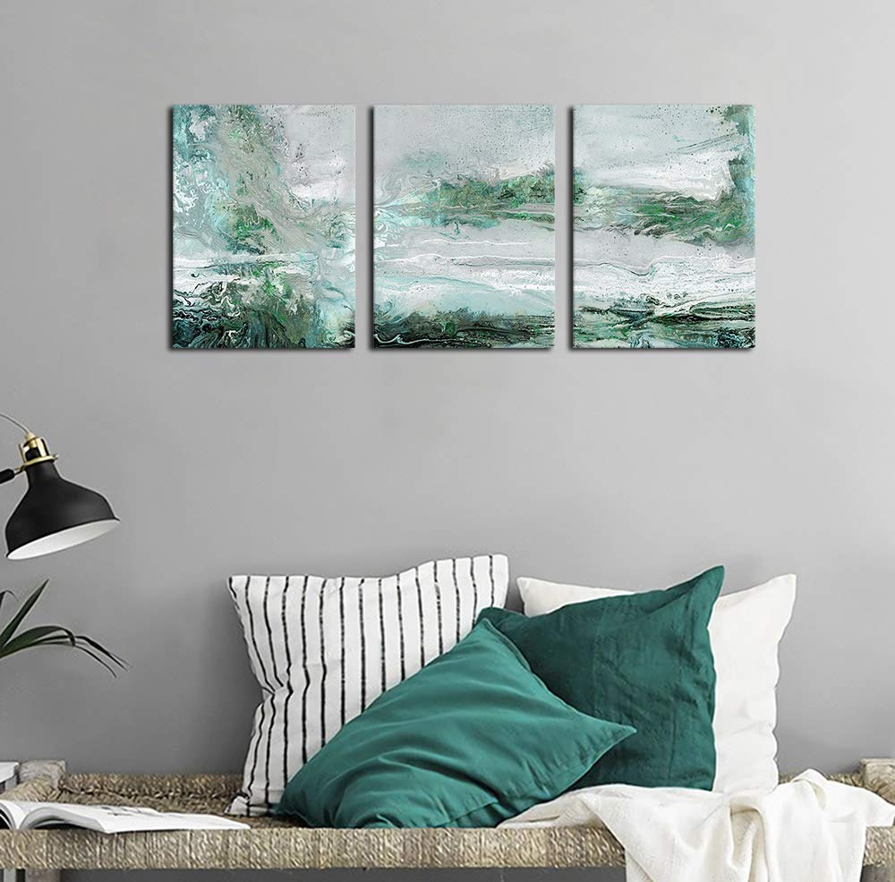 arteWOODS Abstract Canvas Wall Art Bedroom Wall Decor Contemporary Wall Art Bathroom Wall Decor Grey Blue Green Canvas Picture Modern Artwork for Home Decoration 12\