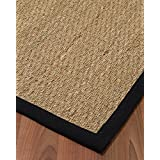 "Mayfair Seagrass Runner - Black Border, Handcrafted, Cotton Border, Non-Slip Latex Backing, 2'6"" x 8'"