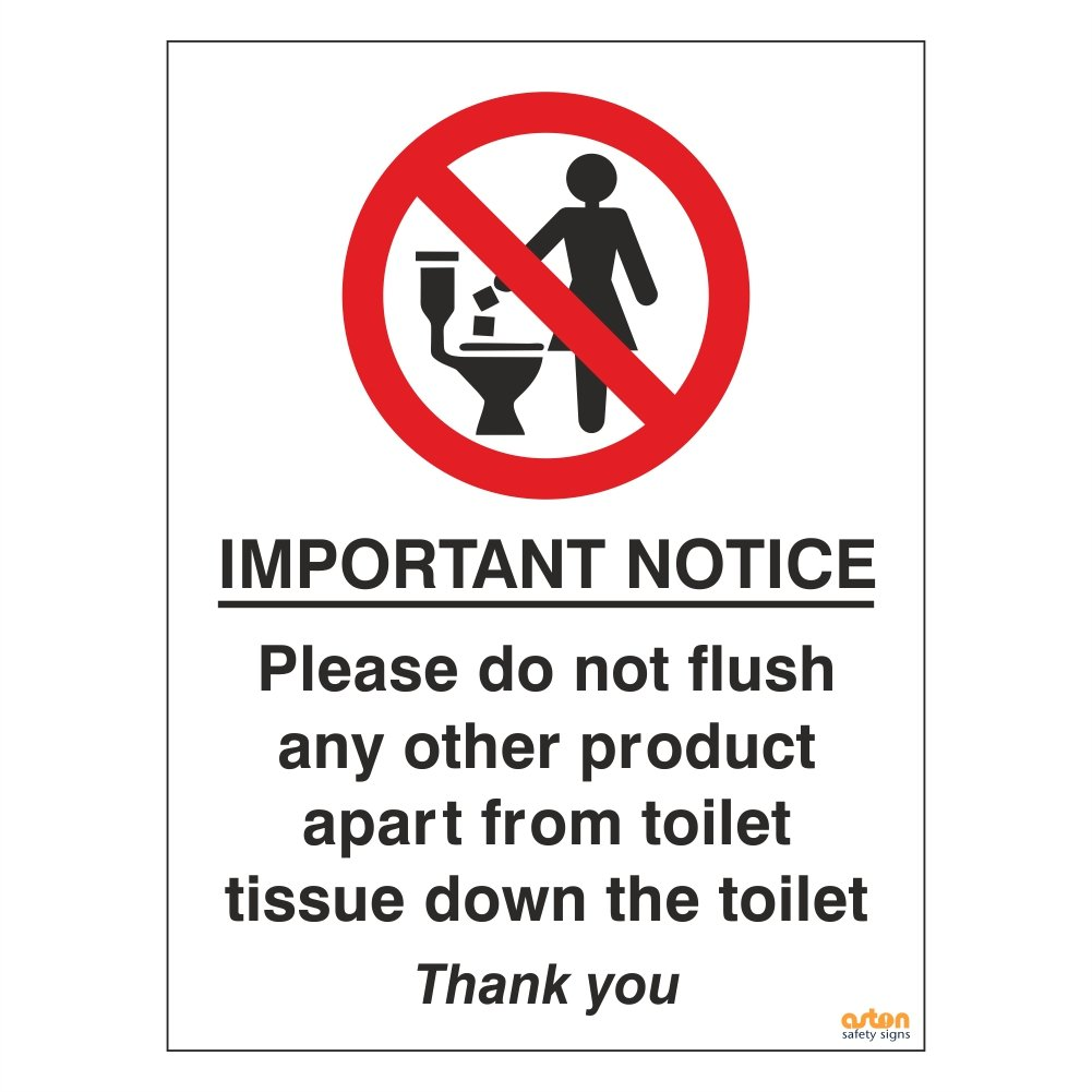 picture regarding Free Printable Do Not Flush Signs identify Pack of 2 Lavatory Signs or symptoms. Critical attention, you should do not flush any other products aside in opposition to lavatory tissue down the lavatory. 75mm x 100mm Self Adhesive