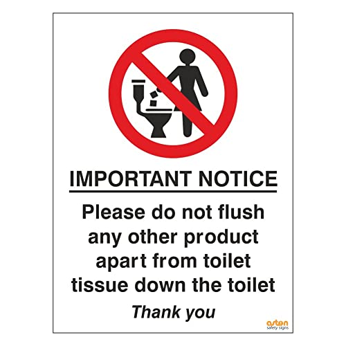 Uk 20cmx15cm Do Not Flush Sanitary Products Sign Self