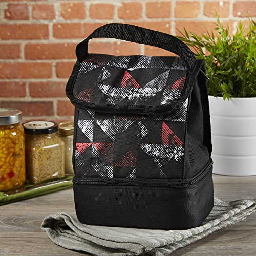 Fit   Fresh Kids Austin Insulated Lunch Bag With Dual Zippered Compartments  Versatile Lunch Box For Boys  Triangle Geo