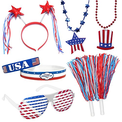 Moon Boat 4th/Fourth of July Party Accessories - Patriotic Decorations Favors Supplies- Shutter Glasses/Necklaces/Wristband/Headband/Pom Pom -