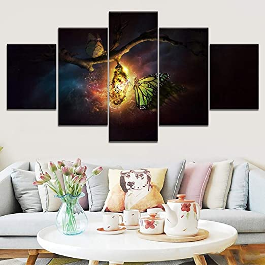 MMLZLZ 5 Canvas Paintings HD Print 5 Black and White Photos Green Tree Lake Poster Landscape Wall Art Living Room Home Decoration Canvas Painting