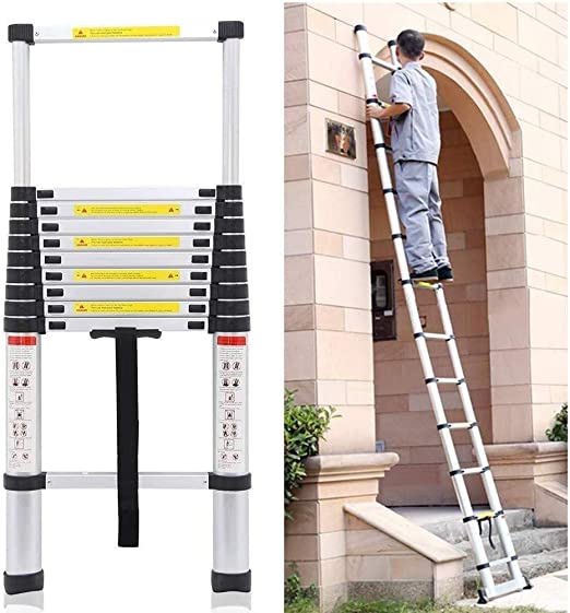 Escalera Telescópica LXLA - General Perfil telescópico de extensión de aluminio - multiuso portátil escalera plegable de altura ajustable, for trabajar al aire libre de interior - Carga 330lb (Tamaño,: Amazon.es: Hogar