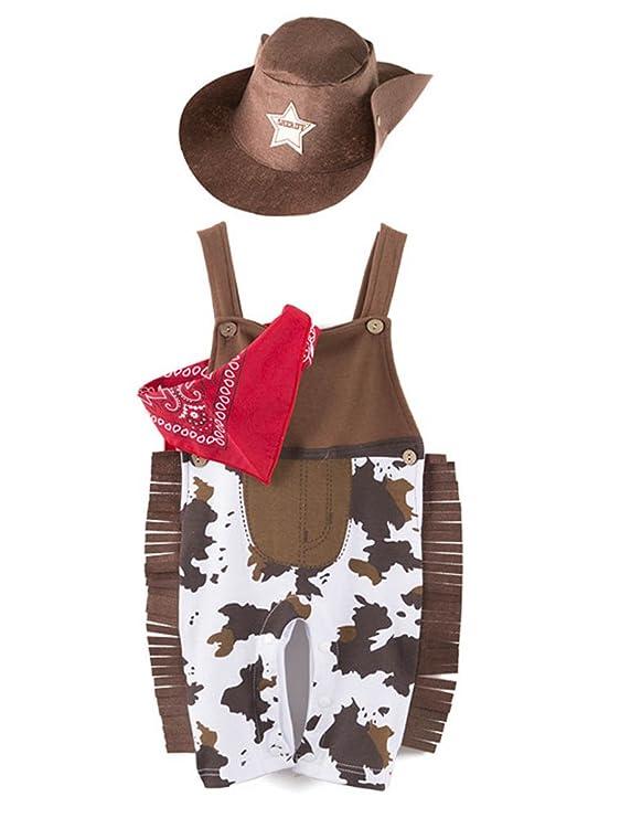 Babynice Ensemble d Été Bébé Garçon en 3PC Bonnet+Mouchoir+ Combinaison  Cowboy Costume de Déguisement Mignon  Amazon.fr  Vêtements et accessoires 05dd6ad8a6f