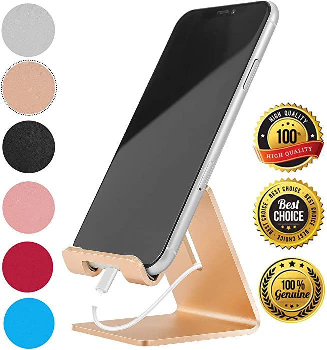 Desk Cell Phone Stand Holder Aluminum Phone Dock Cradle Compatible with Switch, All Android Smartphone, for iPhone 11 Pro Xs Xs Max Xr X 8 7 6 6s Plus 5 5s 5c Charging, Accessories Desk (Gold)