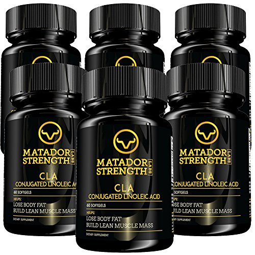 CLA Safflower Oil Diet Pills - Extra Potent Natural Weight Loss Detox Aid with Micronutrient Metabolic Energy Booster for Bodybuilding and Lean Muscle Mass Gains 6 Bottles 60 Capsules Made in USA by Matador Strength Labs