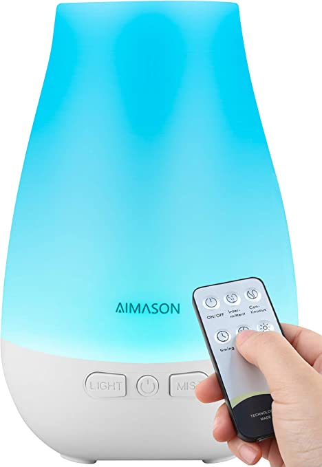 AIMASON 3rd Version 180ML Essential Oil Diffuser, BPA Free Ultrasonic Aroma Diffuser Humidifier with Adjustable Mist Mode and Waterless Auto Shut Off