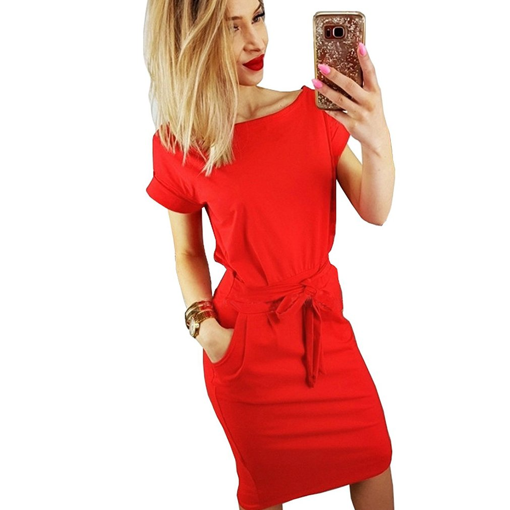 Inkpoo Womens Casual Dress Short Sleeve Wear to Work Elegant Office Dress with Belt Red XL