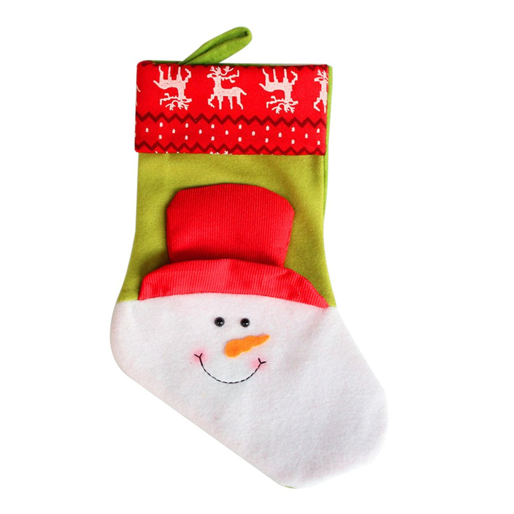 Christmas Stockings Bags Hanging Ornaments Assorted Patterns 3D Gift Socks Hanging for Xmas Tree Decoration Xmas Candy Gift Bag Socks (A)