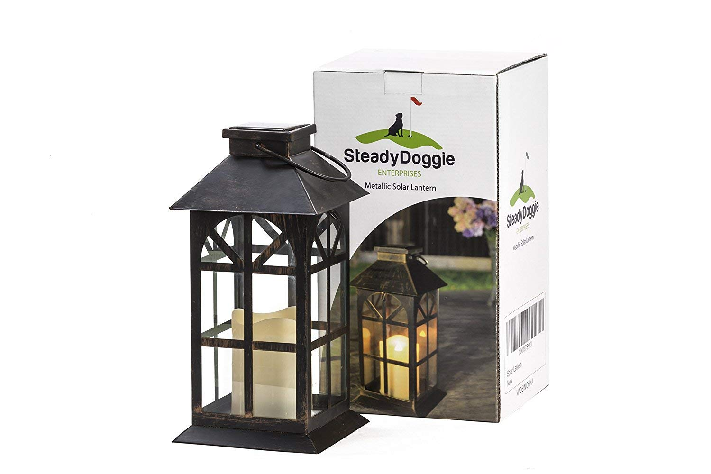 SteadyDoggie Sports & Outdoors Indoor Outdoor Solar Lantern Decor Antique Metal Glass Construction Estate Solar Mission Lantern Patio Lawn Garden Decor