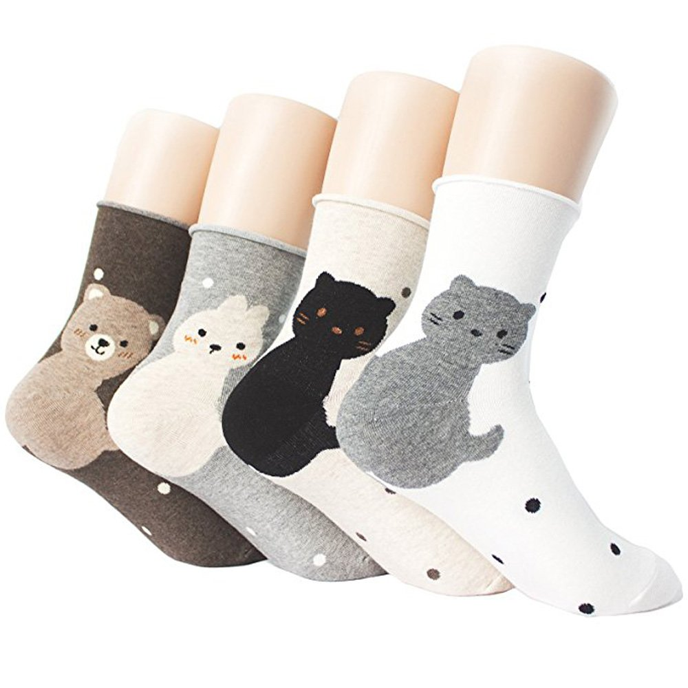 Womens Casual Socks - Cute Crazy Lovely Animal Cats Dogs Pattern Good for Gift One Size Fits All Good for Gift Idea (PangPang B)