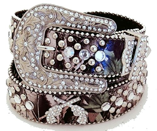 Rhinestone Buckle Camouflage (Western Genuine Leather Cowgirl Belt Rhinestones Guns Camouflage Camo L)