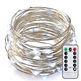 33ft 100 LED String Lights with Remote Control, LeMorcy Waterproof Decorative Lights for Bedroom, Patio, Garden, Gate, Yard, Parties, Wedding (Silver Wire Lights, White)