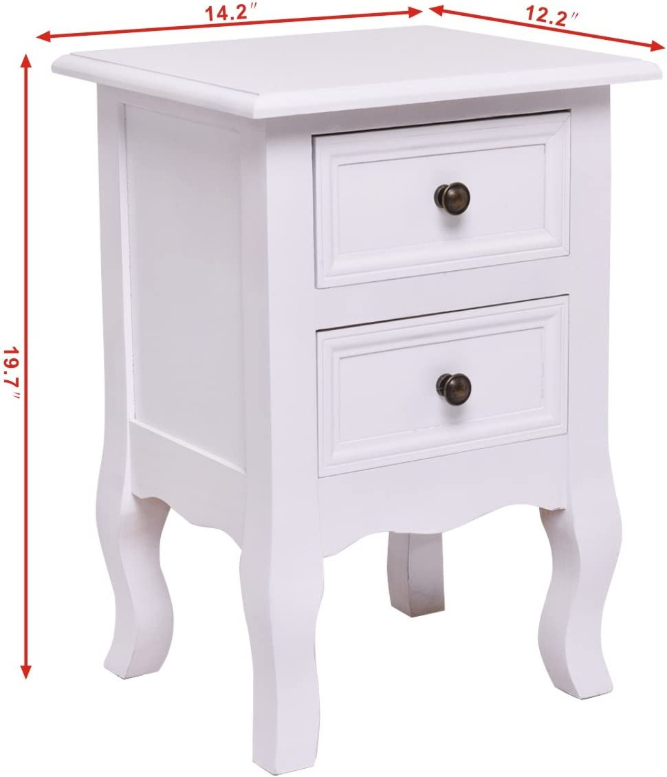 Giantex Nightstand Wooden Frame W// 2 Drawers and Curved Legs Accent Beside Sofa for Living Roome Bedroom Kids Room Home Furniture Side End Table 1, White