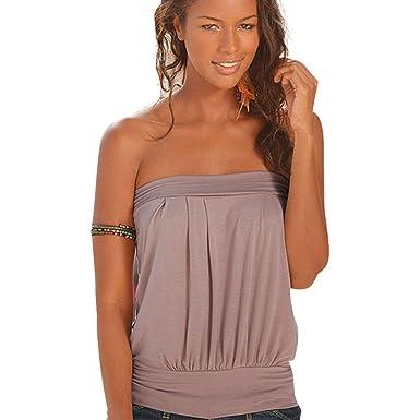 101b99616d Elite99 Womens Strapless T-Shirt Plain Boob Tube Top Tank Ladies Vest  Blouse  Amazon.co.uk  Clothing
