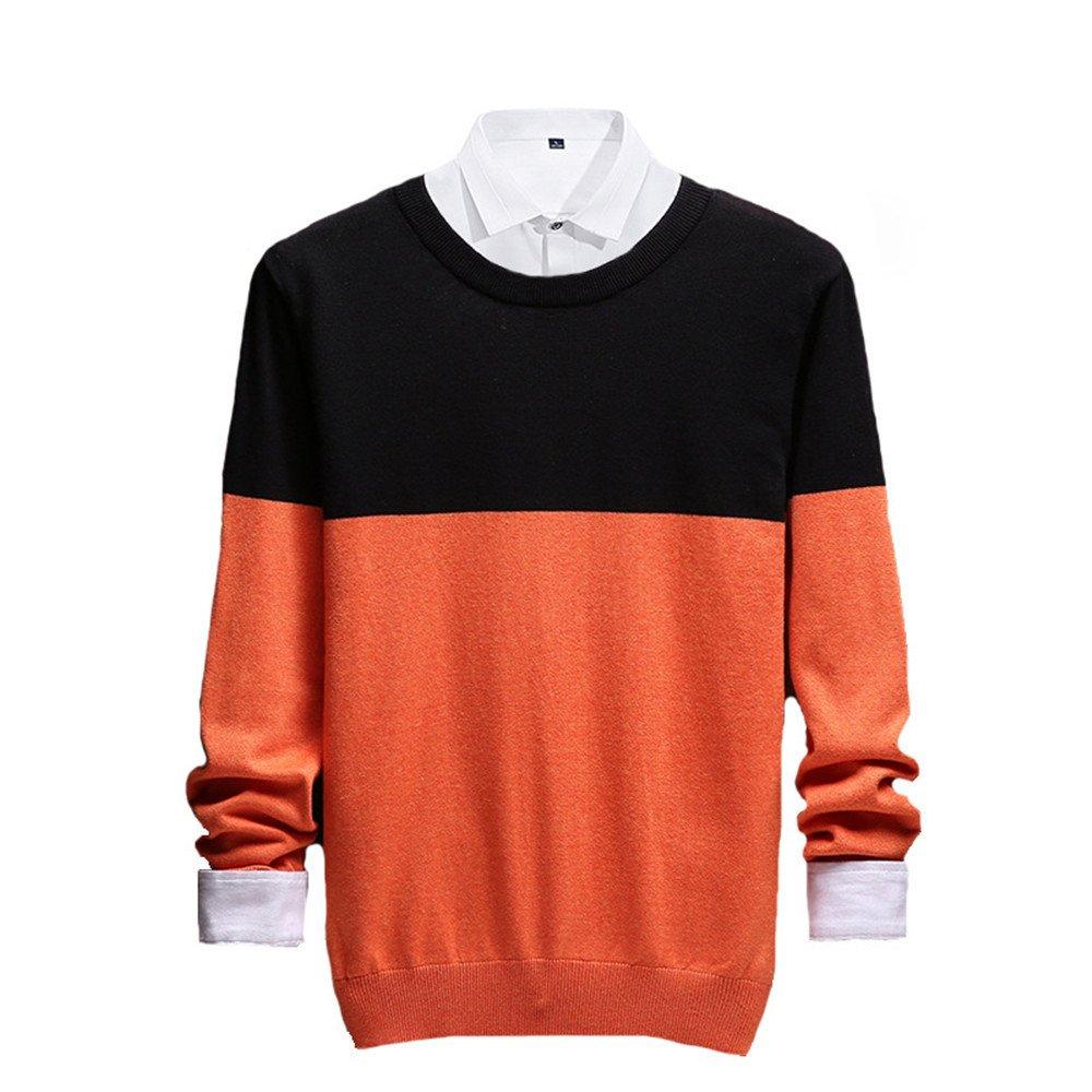 Jdfosvm männer aus Pullover, männer aus Pullover lässig Pullover um den Hals,Orange,m