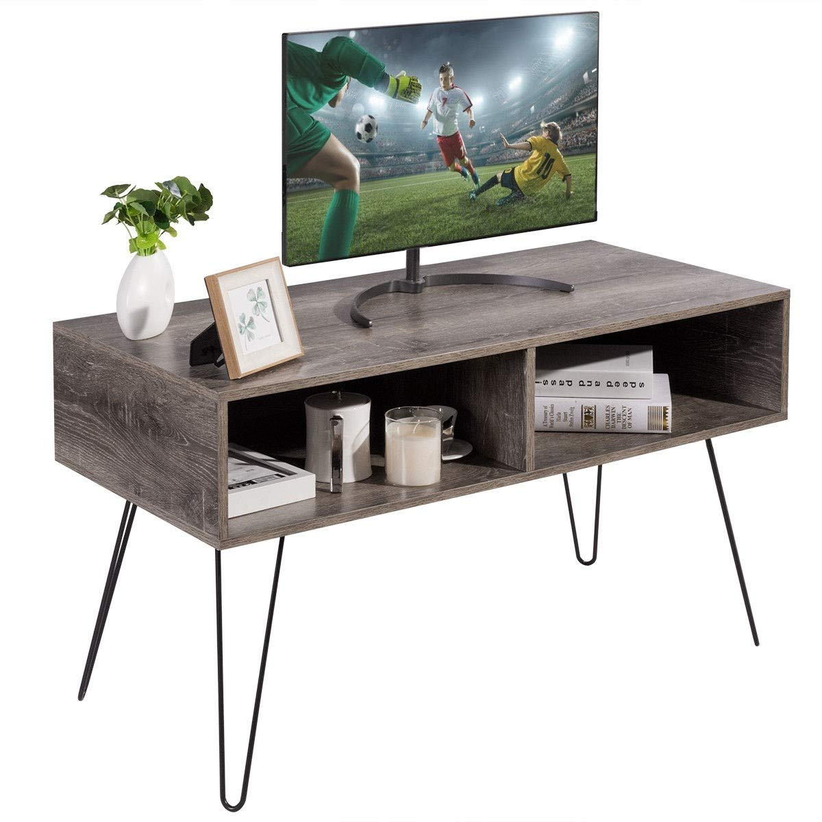 KING77777 Retro and Modern Design Style 42'' TV Stand Wood Media Console with Sturdy Metal Hairpin Legs by KING77777 (Image #4)