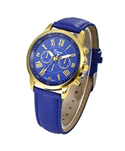 Auwer Watches, 2019 Black Geneva Fashion Women Diamond Analog Leather Quartz Wrist Watch Watches (Blue)