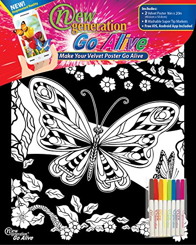 Velvet Poster Butterfly (New Generation Go Alive - Butterfly Coloring Velvet Art Posters 2-Pack Set of 11x15 Inch Color in Posters | 8 Super Tip Washable Markers Included | Butterfly 2 Pack Fuzzy Posters Great Gifting idea)