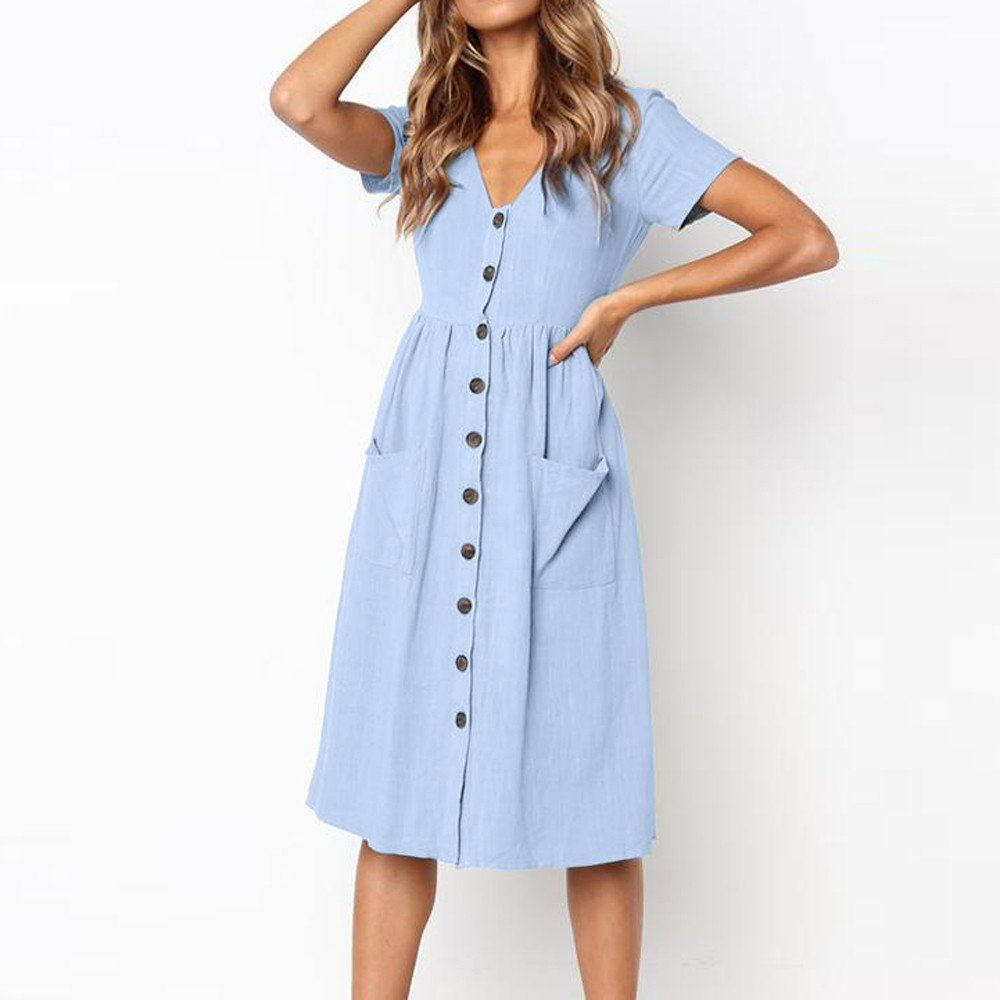 TOTOD Dress for Women Fashion Solid Short Sleeve Buttons V-Neck Dress Summer Holiday Beach Sundress Light Blue by TOTOD (Image #4)