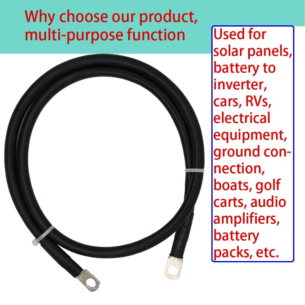 4 AWG Battery Cables Gauge Power Inverter Cables with 5/16 Ring ...