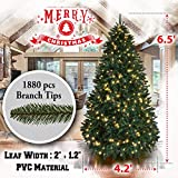 BenefitUSA 6.5 /7 /7.5ft Artificial Christmas Tree with Metal Stand Full Tree Xmas Holiday (6.5 with 650 Clear Lights and 1880 tips)