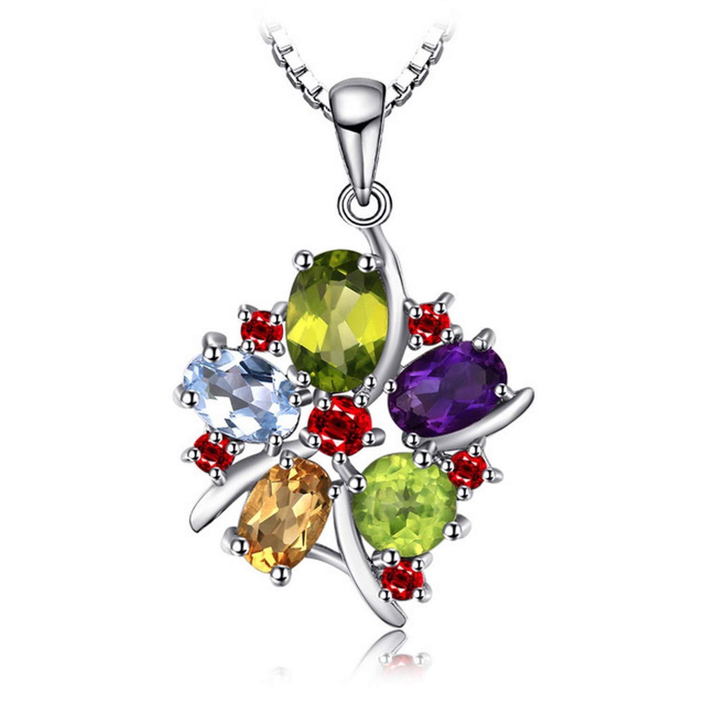 CS-DB Jewelry Silver 3.1ct Amethyst Garnet Peridot Citrine Topaz Chain Charm Pendants Necklaces