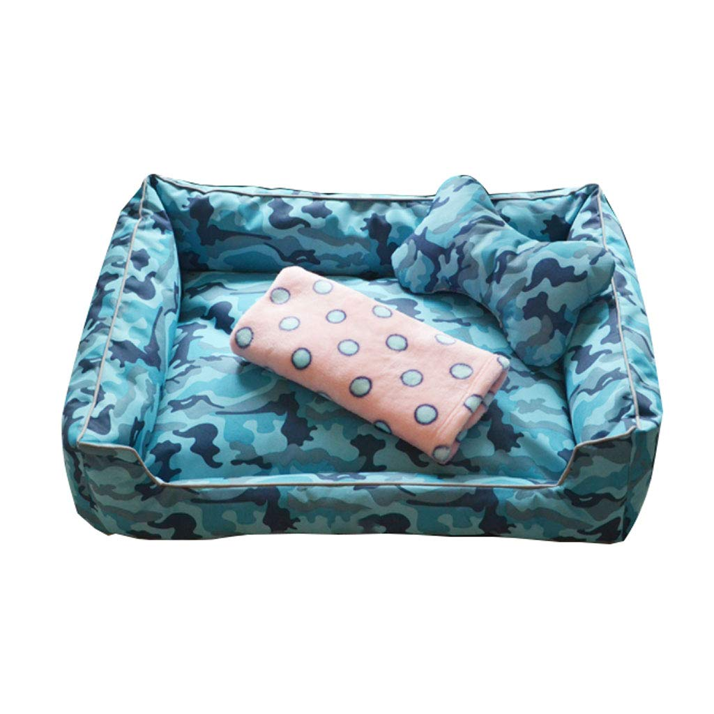 bluee Large bluee Large XINGZHE Pet Dog Bed-Soft Winter Mattress Pet Bed for Dogs & Cats Sleep-Sleep Mattress Deluxe Sofa Mattress For Head Support Pet bed (color   bluee, Size   L)