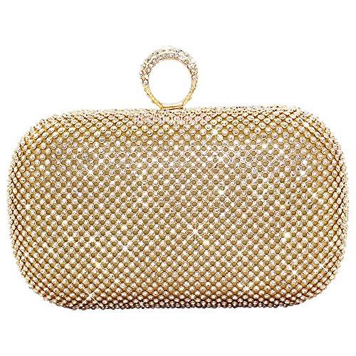 Clutch Fashion Hard Diamante Shimmering Silver Purse Prom Crystal Case 2 Box Handbag Encrusted Bridal Style Gold Bag Wocharm Party Evening Ww8OfqdxwI