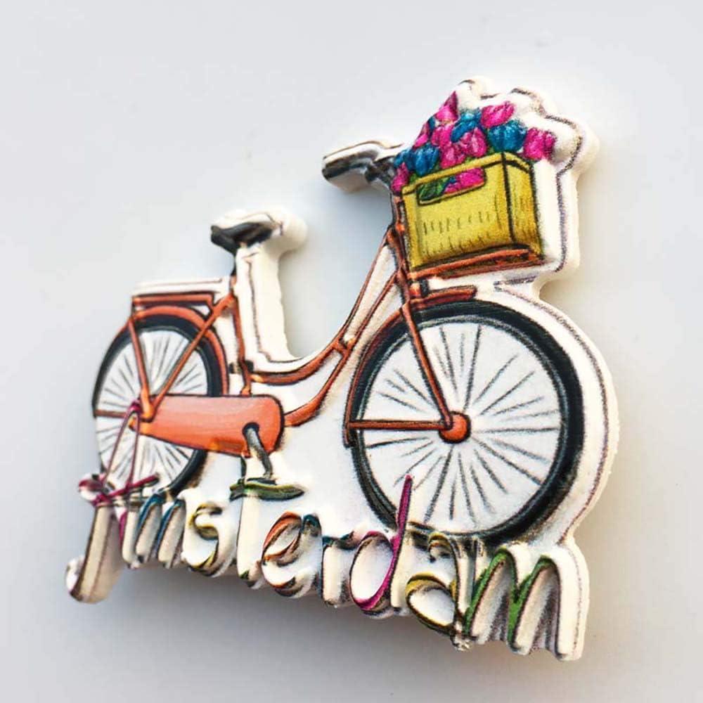 Wedare Magnet Souvenir Amsterdam Hollande 3D V/élo Aimant R/éfrig/érateur Touriste Souvenirs /À La Main R/ésine Artisanat Maison Cuisine D/écoration Pays-Bas R/éfrig/érateur Aimant Collection Cadeau