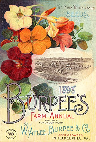 Burpee's 1898 Nasturtiums Reproduction Art of Vintage/Antique Garden Catalog and Magazines Front Cover Art From Companies for Growing Vegetables or Veggies Flowers or Flowers Size 8.5
