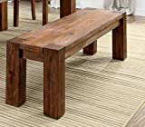 Frontier Rustic Wooden Bench Natural Teak Finish For Sale