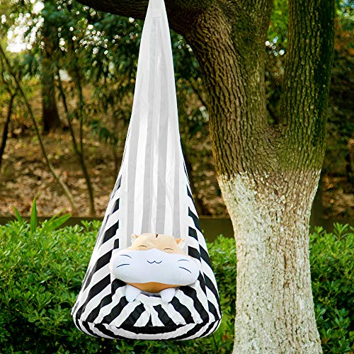 Samincom Kids Hanging Pod Swing Seat Hammock, 100% Cotton Child Hammock Chair for Indoor and Outdoor use (White-Black Stripe)