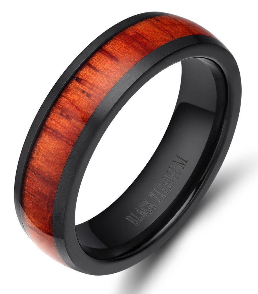 6mm Men's Women Black Titanium Ring with Real Wood Inlay Comfort Fit Wedding Band Size 5 - 14 (6.5)