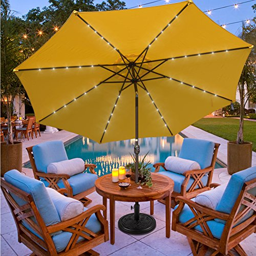 Sundale Outdoor 11FT 40 LED Lights Aluminum Patio Market Umbrella with Hand Push Tilt and Crank, Garden Pool Solar Powered Lighted Parasol, 8 Ribs, Yellow (Deck Large Umbrellas)