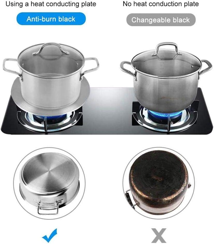 Placa difusora de calor 8.5 pulgadas placa adaptadora de inducci/ón de acero inoxidable con mango separable para ollas de cocina placa de inducci/ón de difusor de calor de 7.5 pulgadas