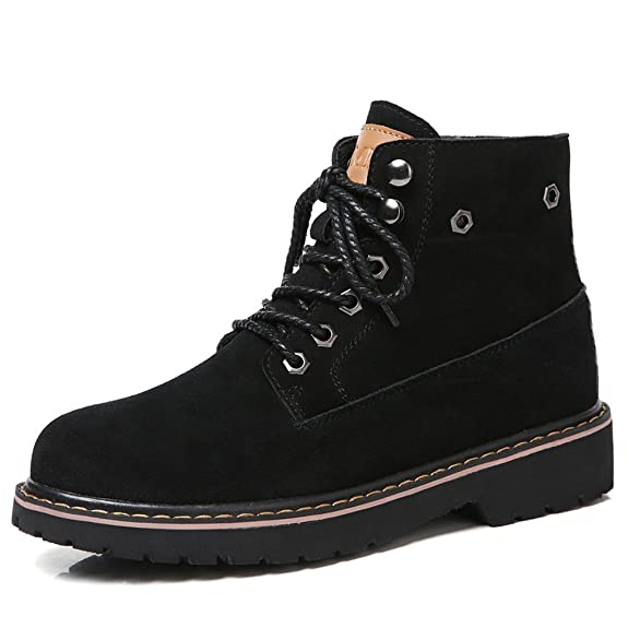 Women Lace-Up Suede Leather Soft Toe Ankle Work Boots Winter Low Heel Short Booties