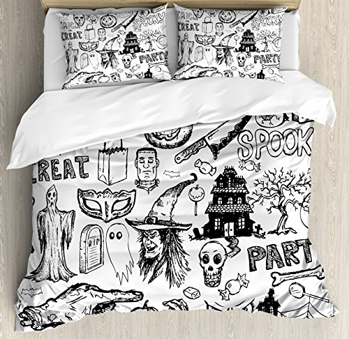 Ambesonne Vintage Halloween Duvet Cover Set King Size, Hand Drawn Halloween Doodle Trick or Treat Party Severed Hand Design, Decorative 3 Piece Bedding Set with 2 Pillow Shams, Black White -