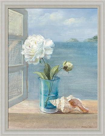 Coastal Floral I By Danhui Nai Blue Bath Bathroom Wall Art Print Framed  Décor