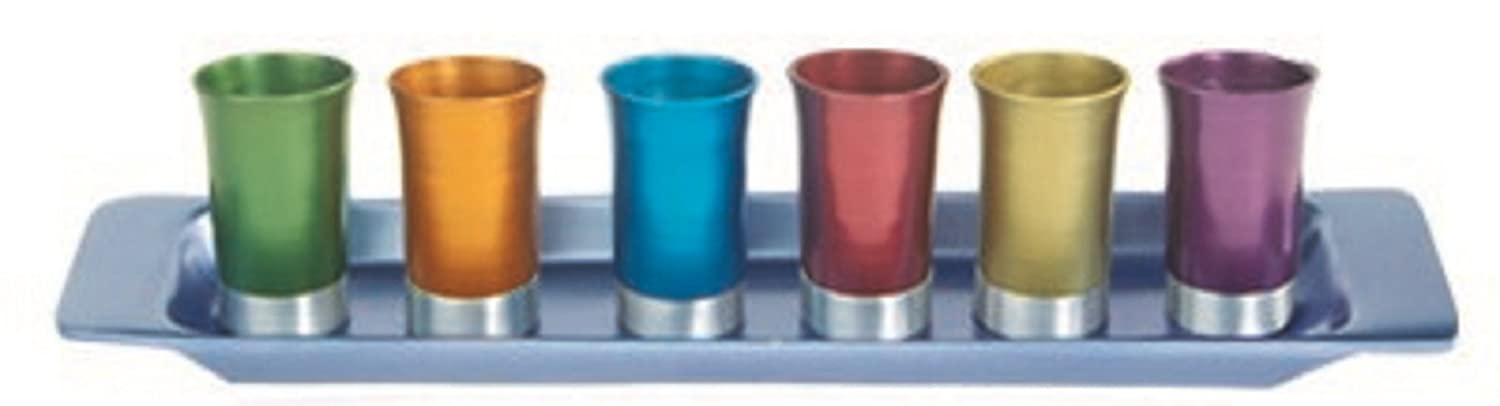Set of 6 Yair Emanuel Multicolored Anodized Aluminum Cups with Tray World of Judaica AR-GS-6A