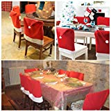 AMA(TM) 6pcs Christmas Chair Covers Xmas Santa Hat Cap Dining Room Dinner Table Decor Party Gift (5pcs)
