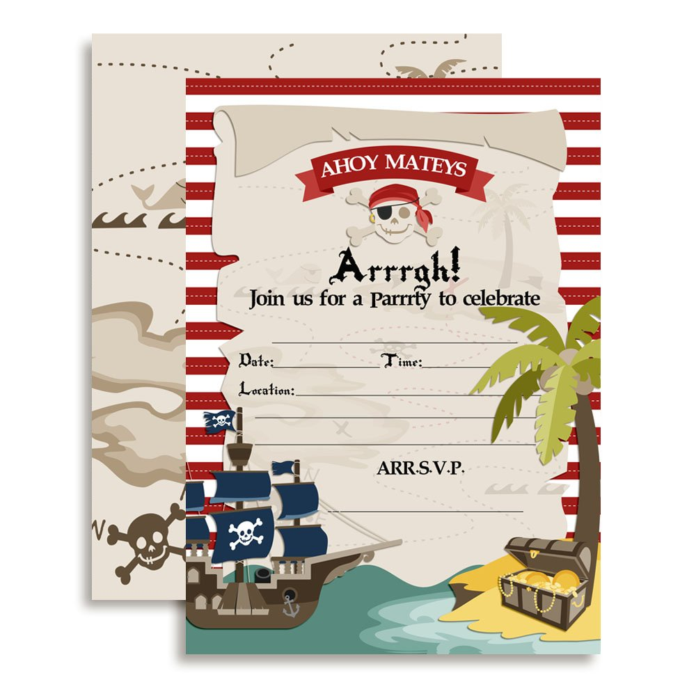 Amanda Creation Pirate Treasure Map Birthday Party Fill in Invitations Set of 20 with envelopes
