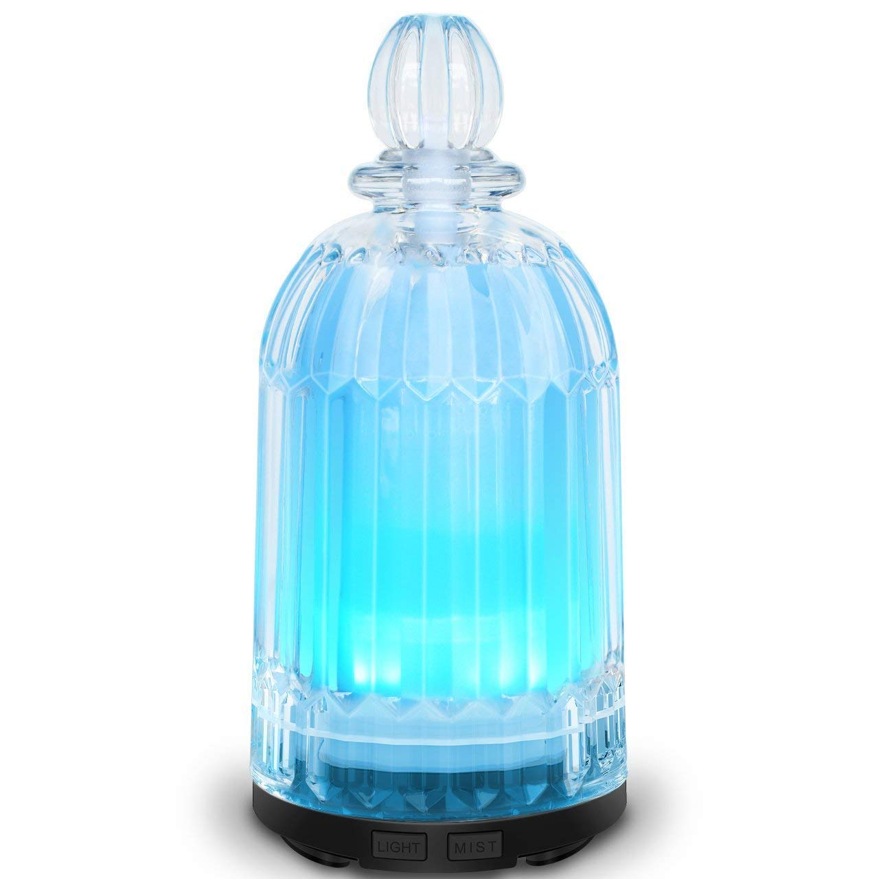 COSVII Glass Oil Diffuser Ultrasonic Aromatherapy diffuser for Essential Oils with 7-color LED Lights, Automatic Shut-off Function